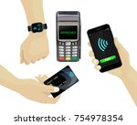 contactless payments set. pos...   Shutterstock .eps vector #754978354
