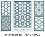 laser cut ornamental panel ... | Shutterstock .eps vector #754978921