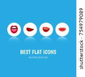 flat icon lips set of kiss ... | Shutterstock .eps vector #754979089