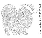coloring page of pomeranian ... | Shutterstock .eps vector #754979761