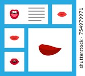 flat icon mouth set of tongue ... | Shutterstock .eps vector #754979971