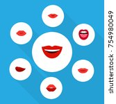 flat icon mouth set of pomade ... | Shutterstock .eps vector #754980049