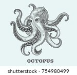 octopus painted in dotwork style | Shutterstock .eps vector #754980499