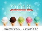 happy new year 2018 celebration ...   Shutterstock .eps vector #754981147