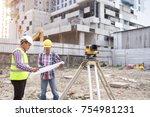 asian civil engineer checking... | Shutterstock . vector #754981231