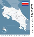 costa rica map and flag   high... | Shutterstock .eps vector #754983379