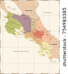 costa rica map   vintage high... | Shutterstock .eps vector #754983385