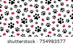 Dog Paw Cat Paw heart love puppy foot print kitten valentine vector Seamless Pattern wallpaper background