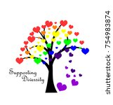 rainbow tree with colorful... | Shutterstock .eps vector #754983874