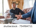 at the psychologist. a man... | Shutterstock . vector #754984711