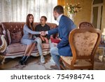 at the psychologist. young...   Shutterstock . vector #754984741