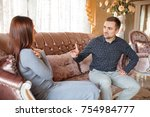 at the psychologist. young...   Shutterstock . vector #754984777