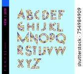 vector alphabet typography logo ... | Shutterstock .eps vector #754984909