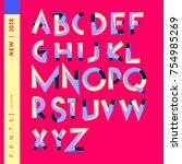 vector alphabet typography logo ... | Shutterstock .eps vector #754985269
