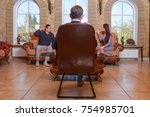at the psychologist. young... | Shutterstock . vector #754985701