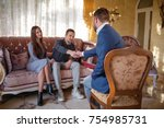 at the psychologist. young...   Shutterstock . vector #754985731