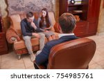 psychologist. beautiful young... | Shutterstock . vector #754985761