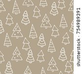 seamless christmas pattern with ... | Shutterstock .eps vector #754989391