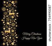 christmas golden  tree... | Shutterstock .eps vector #754990087
