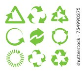 green recycle icons set. eco... | Shutterstock . vector #754990375