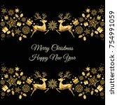 christmas golden decoration....   Shutterstock .eps vector #754991059