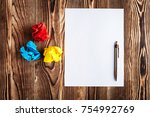blank sheet of paper and pen on ... | Shutterstock . vector #754992769