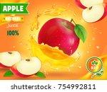 apple juice advertising. fruit... | Shutterstock .eps vector #754992811