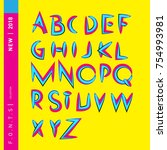 vector colorful abstract font... | Shutterstock .eps vector #754993981