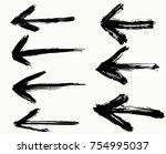 grunge arrows set. vector ... | Shutterstock .eps vector #754995037