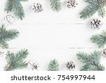 christmas composition. frame... | Shutterstock . vector #754997944