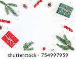 christmas composition. frame... | Shutterstock . vector #754997959