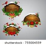 vector wooden christmas board   Shutterstock .eps vector #755004559