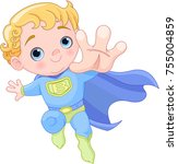 illustration of very cute super ... | Shutterstock .eps vector #755004859