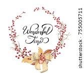watercolor christmas wreath... | Shutterstock . vector #755005711