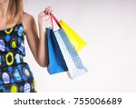 young woman in summer shopping