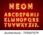 neon font text. neon font eps.... | Shutterstock .eps vector #755007079