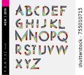 vector colorful abstract font... | Shutterstock .eps vector #755010715