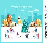 winter holidays. snowy street.... | Shutterstock .eps vector #755011291