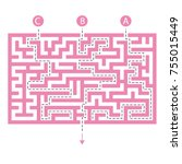labyrinth shape design element. ...   Shutterstock .eps vector #755015449