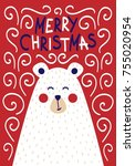 cute christmas card with a... | Shutterstock .eps vector #755020954