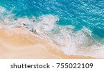aerial view to tropical sandy... | Shutterstock . vector #755022109