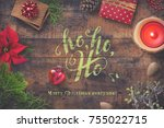 christmas greeting card with... | Shutterstock . vector #755022715