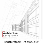 wireframe of building ... | Shutterstock .eps vector #755023519