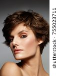 young model with fresh make up...   Shutterstock . vector #755023711