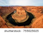 sunset at the grand canyon ... | Shutterstock . vector #755025025