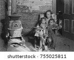 wife and children of an... | Shutterstock . vector #755025811