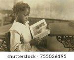 young girl reading an... | Shutterstock . vector #755026195