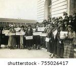women suffragettes holding... | Shutterstock . vector #755026417
