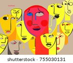 person with social phobia.... | Shutterstock . vector #755030131