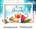 merry christmas background | Shutterstock .eps vector #755031655